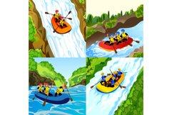 Rafting banner set, cartoon style Product Image 1