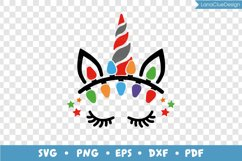 Unicorn Face with Christmas Lights SVG PNG DXF EPS PDF Product Image 3