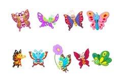 Set of Eighteen Cartoon Butterflies Character Product Image 2