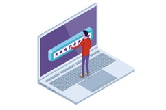 Data Access, Password isometric concept. Product Image 1