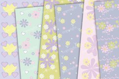 Pastel purple flowers and hearts scrapbook paper Product Image 3