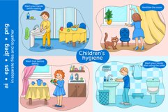 Baby hygiene vector illustration set Product Image 3