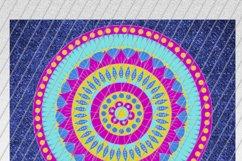 Denim and Mandala Skinny Tumbler Sublimation /Pink and Blue Product Image 3