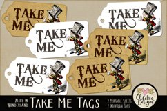 Alice in Wonderland Mad Hatter Take Me Printable Tags Product Image 1