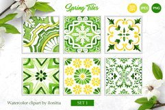 Spring Tiles Green Watercolor Clipart Set1 Product Image 1