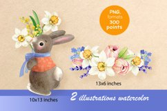 Rabbit with a bouquet of spring flowers Product Image 2