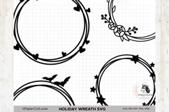Holiday Wreath SVG Set, Halloween, Hearts, Stars, Flowers Product Image 2