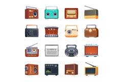 Radio icons set, cartoon style Product Image 1