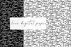 Love Black White Digital Paper. Valentines Digital Paper. Product Image 2