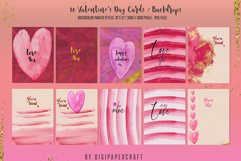 Valentine's Day Digital Paper, Romantic Watercolor clipart Product Image 1