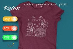 Sweet Bunny - Cut File and Coloring Page Product Image 4