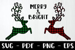 Merry and Bright Buffalo Plaid Reindeer Design Product Image 1