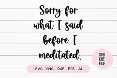 Funny Quote SVG - Sorry For What I Said Before I Meditated Product Image 1
