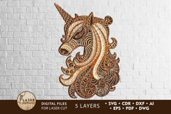 Multilayer Cut File UNICORN for Cricut or Wood Laser Cutting Product Image 1