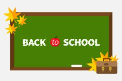 Green board, schoolbag, maple leafs. Back to school Product Image 1