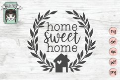 Home Sweet Home SVG File, House Wreath SVG, Welcome Sign SVG Product Image 1