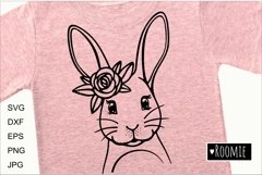 Happy Easter bunny SVG, Rabbit face with flower crown Cricut Product Image 1