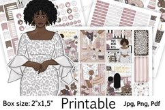 """African American Mom Boss Printable Sticker Box Size 2""""x1,5"""" Product Image 1"""