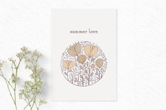 Hand-drawn boho clipart | Beige wildflower clipart Product Image 3