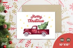 Christmas card - red truck and Merry Christmas. Xmas card Product Image 1
