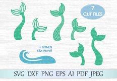 Mermaid tail svg file, Mermaid svg, Sea wave svg file, Mermaid shells svg, Fish tail cut file, Mermaid t shirt design, Mermaid cut, Ocean Product Image 1