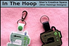 ITH Sewing Machine Vinyl Key Fob or Bag Tag - Snap Tab Machine Embroidery Product Image 1