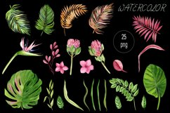 Watercolor tropical clipart, flower and leaves Product Image 6