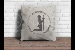 Worshiping Warrior Woman, Christian woman praying silhouette Product Image 3