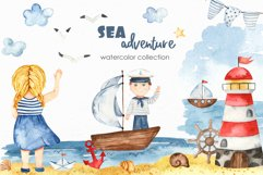Watercolor Sea adventure. Clipart, seamless patterns, cards Product Image 1