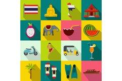 Thailand icons set, flat style Product Image 1