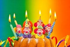 Birthday cake with burning candles decoration Product Image 1