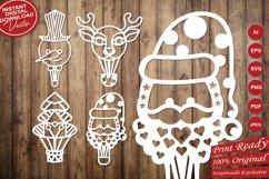 Papercut Christmas Air Balloons, Santa, Tree, Snowman Vector Product Image 4