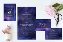 Purple Blue Abstract Watercolor Wedding Invitation Set Product Image 3