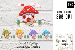 Spring Garden Gnome Colorful Mushroom Homes PNG Designs Product Image 1