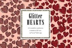 Valentine Digital Paper, Glitter Heart Pattern Product Image 3