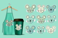 Set of elements cartoon characters. Faces of the mouse, rat Product Image 1