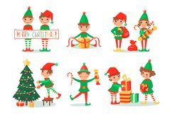 Christmas cartoon set with elves and Santa Clause Product Image 2