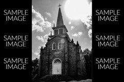 Black and White Old Fashioned Stone Church Product Image 1