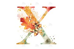 Fall Watercolor Letter, Monogram X clipart JPG PNG Product Image 2