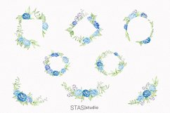 Blue Peonies Floral Frames, Watercolor Blue Bouquets Product Image 2