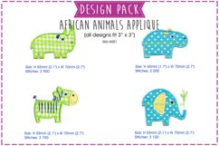 African Animal Applique Embroidery Design Pack Product Image 1