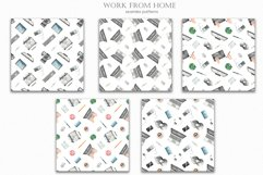 Work from home Watercolor clipart. Seamless patterns, frame Product Image 4