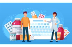 Medication calendar. Doctor and patient standing at calendar Product Image 1