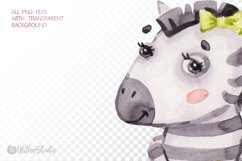 Cute Zebra. Kids horse. Watercolor baby animals clipart Product Image 10