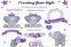 Purple elephant watercolor clip art bundle PNG, floral crown Product Image 2