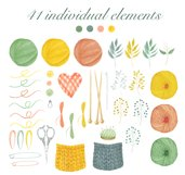 Watercolor Knitting Clipart Product Image 2