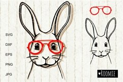 Rabbit face in glasses svg, Easter bunny Cut files Cricut Product Image 2