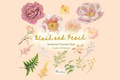 Watercolor Clipart Bundle Blush Pink and Peach Peony Product Image 6