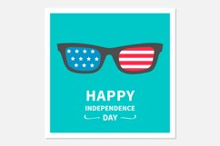 Happy independence day card. Glasses with stars and strips. Product Image 1