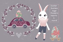 Happy Easter. Bunnies, eggs, flowers Product Image 3